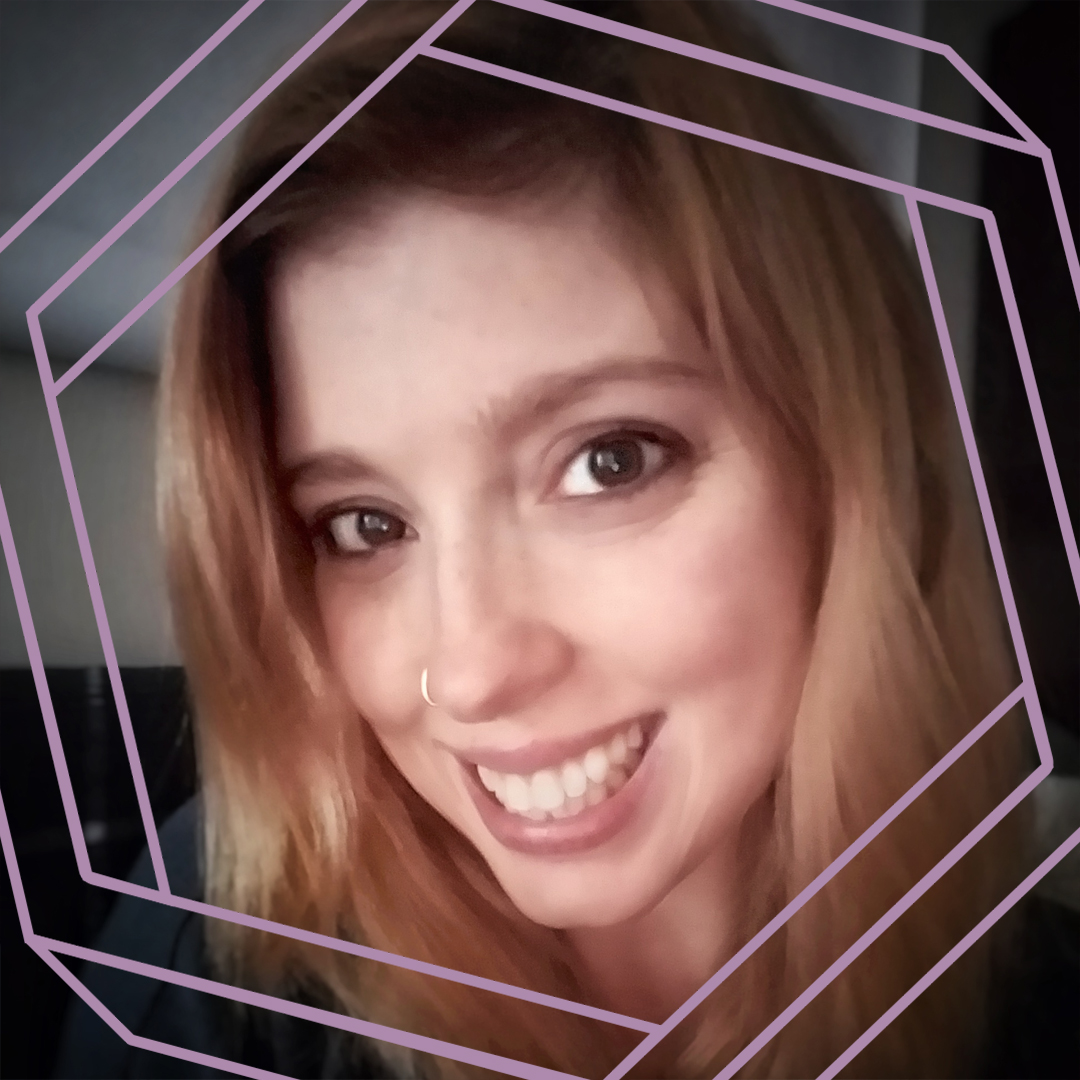 Elizabeth, a white woman with long blonde hair, smiles at the camera. There is a stylized purple hexagon framing the photo.