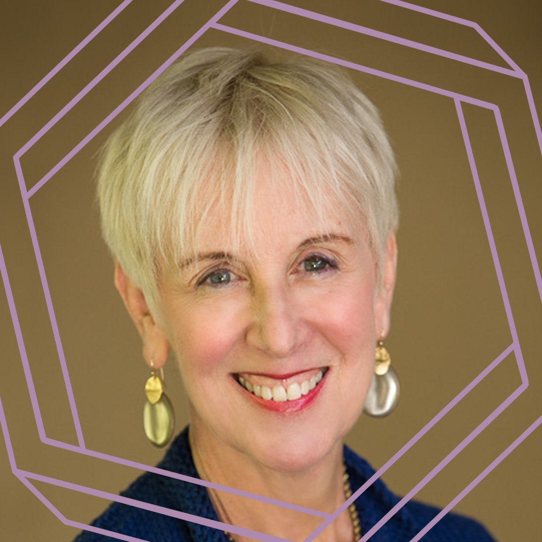 Rosalind, a white woman in her 60s with short blonde hair, smiles at the camera. There is a stylized purple octagon superimposed over the photo.