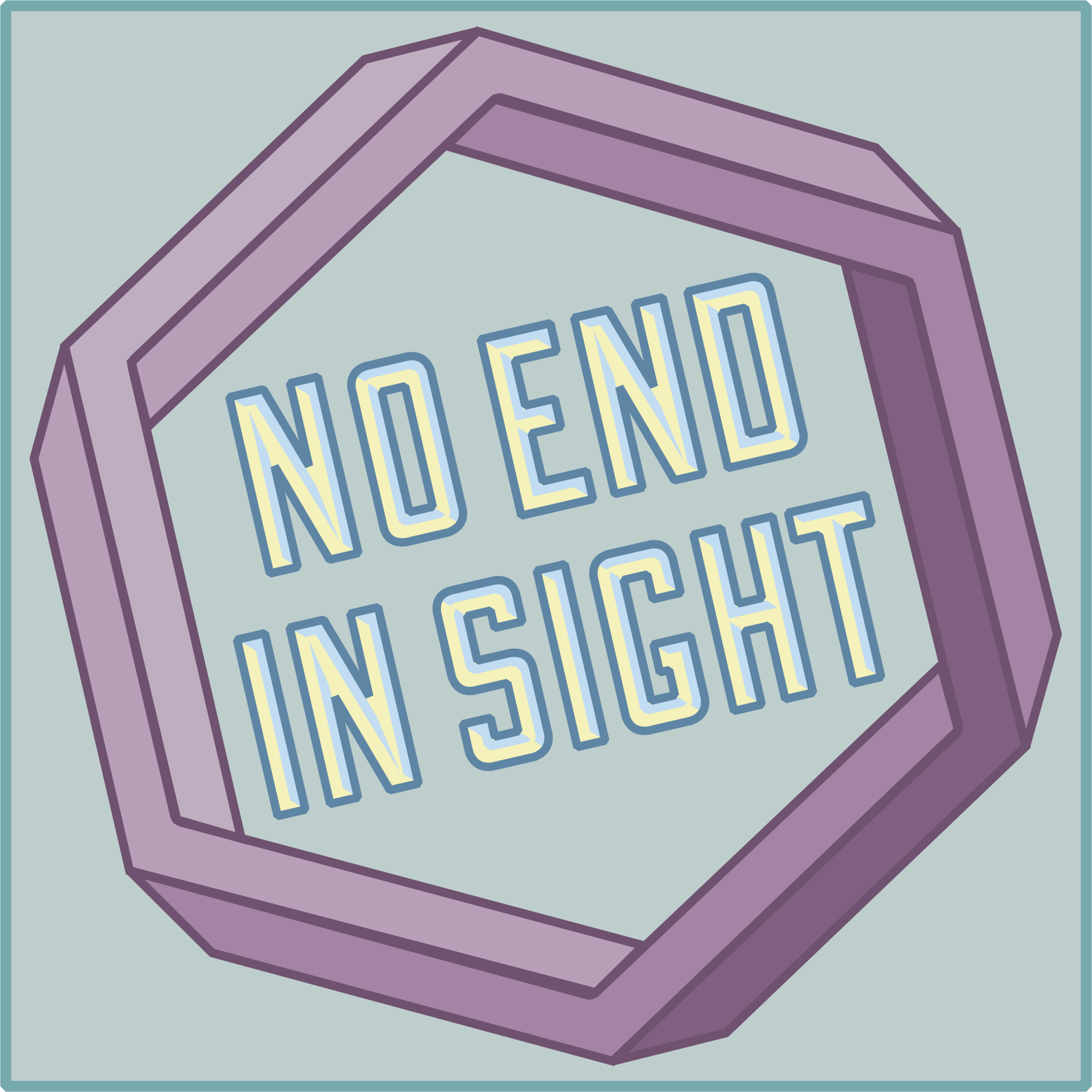 "A stylized purple hexagon with the text ""No End In Sight"" in the center over a green background."