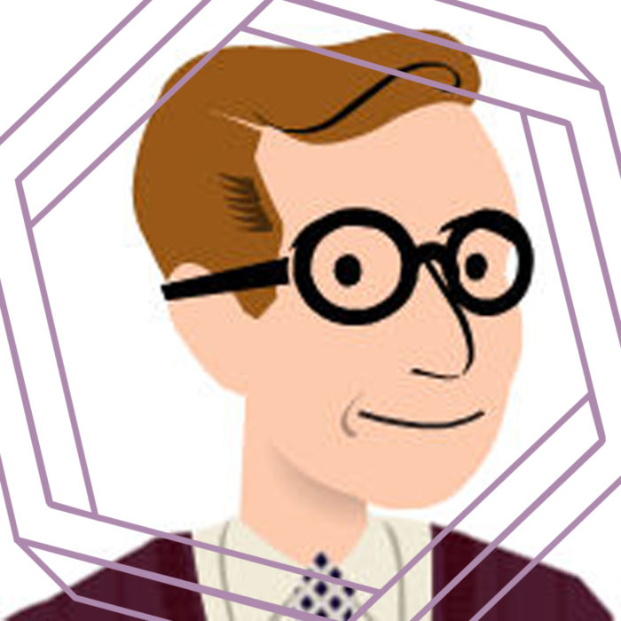 Simple cartoon-style graphic of a white man with short brown hair and round black glasses. There is a stylized purple hexagon framing the graphic.