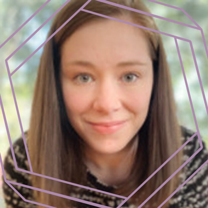 Allie, a white woman in her 20s with long brown hair, smiles at the camera. There is a stylized purple hexagon framing the photo.